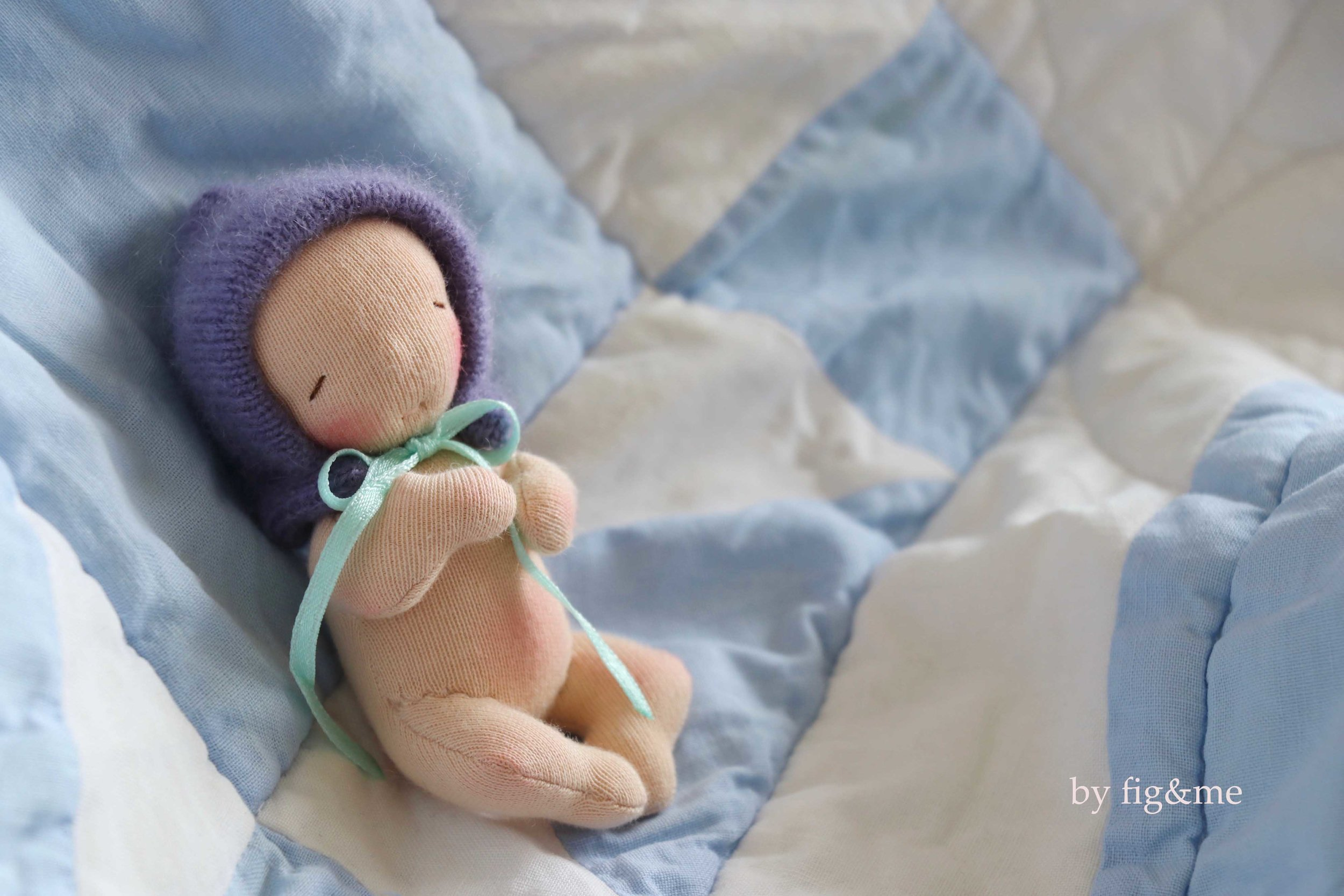 DIY doll making pattern: In the Nursery. Learn to make this miniature baby doll that measures 4 inches tall. Pattern created by fig and me.