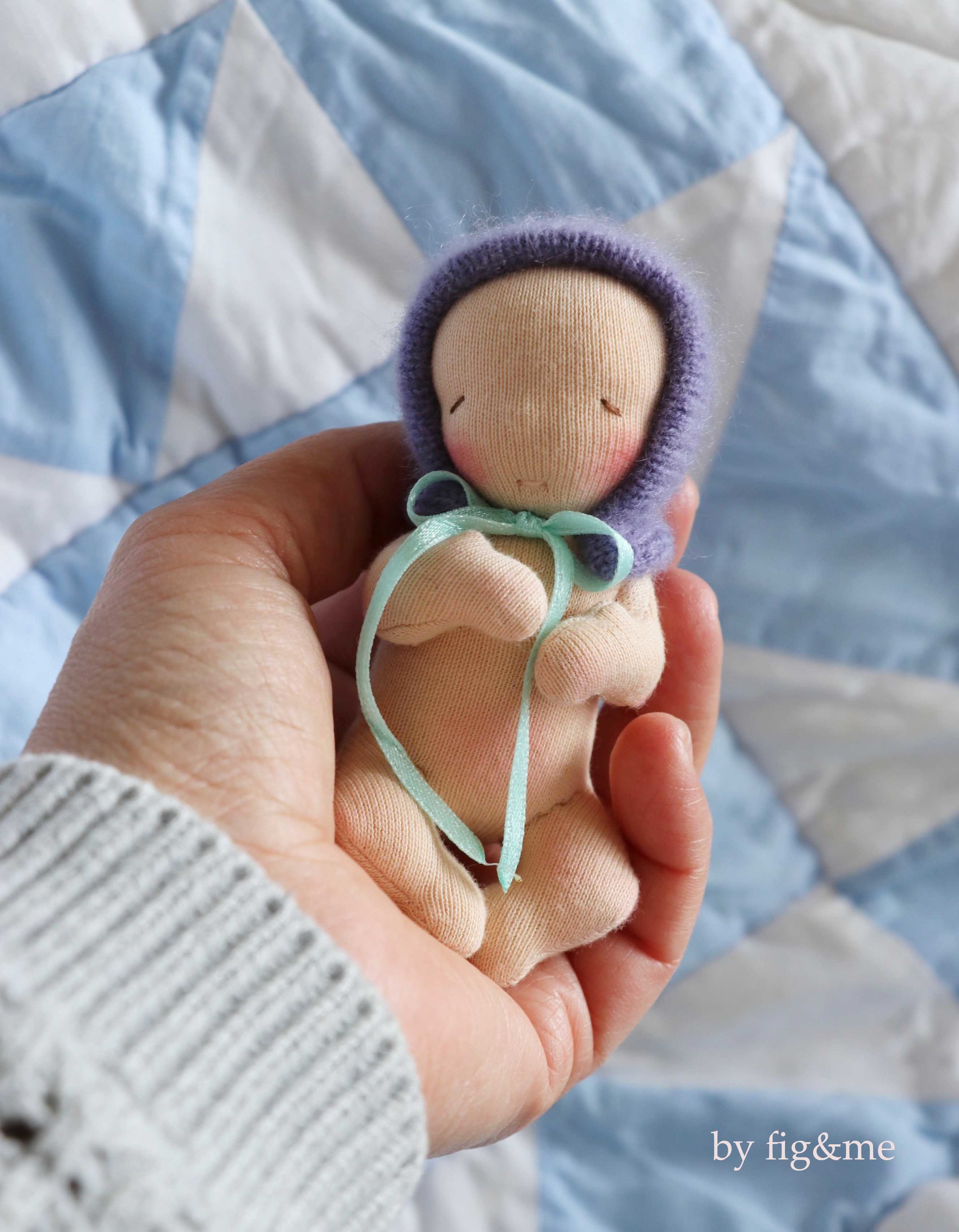 Make a tiny baby doll with my new doll making pattern: In the Nursery by fig and me