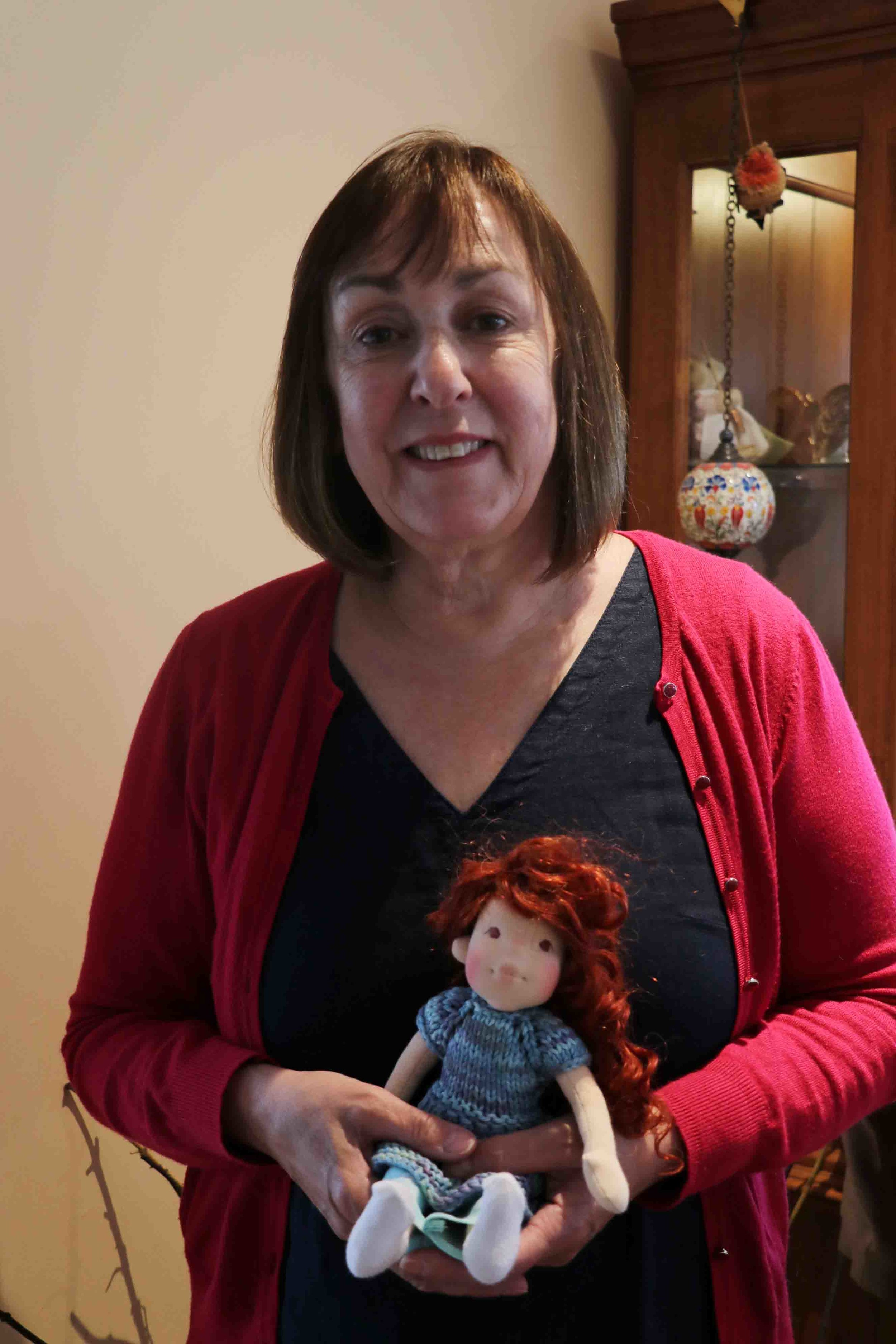 Sweet Vicky proudly holding her little doll made during our doll making workshop at Little Oke Dolls in Newton Abbot. Fig and me doll workshop.