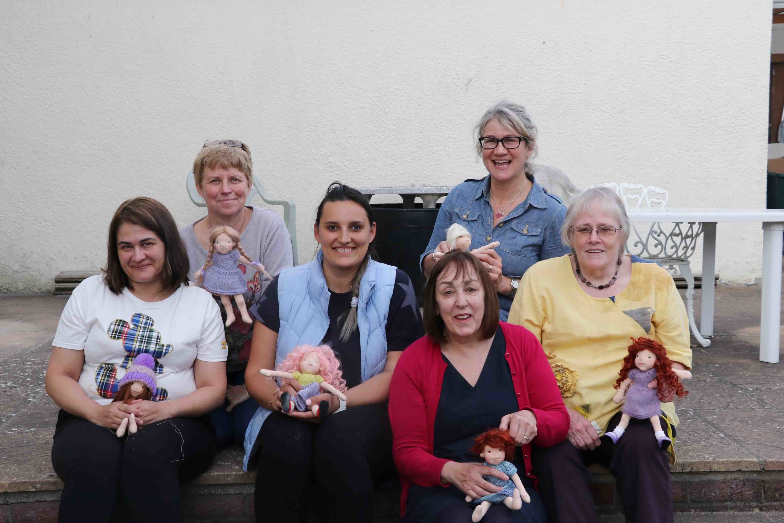 My May group of students: Danielle and Jane at top, with Esther, Alina, Vicky and Jacqui at bottom. All proudly holding the fruits of their labour. Fig and Me doll workshop. Everybody left happy, tired and ready to make more dolls.