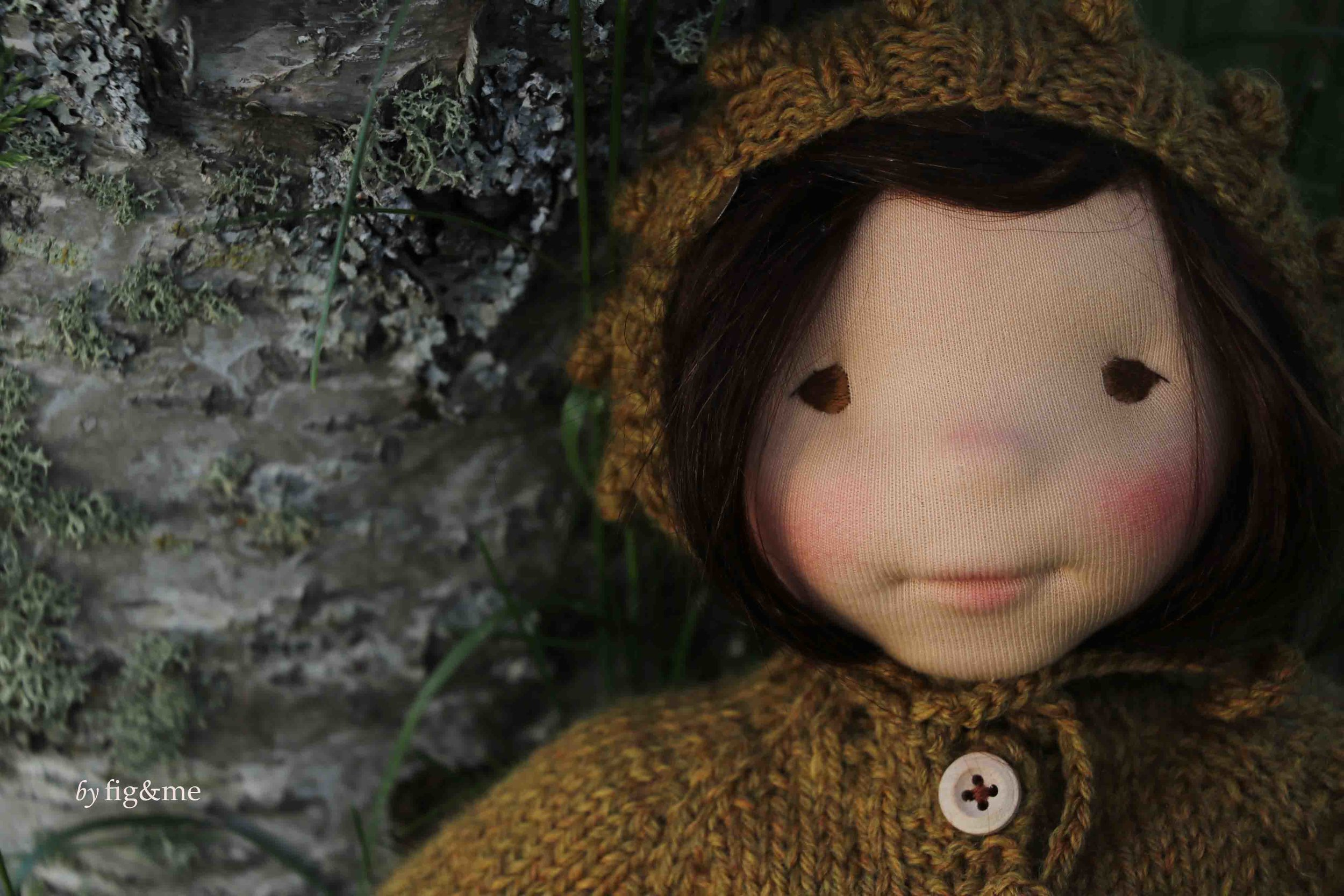 Miss Maggie and the Golden Thread. Natural Fiber Art doll by fig and me.
