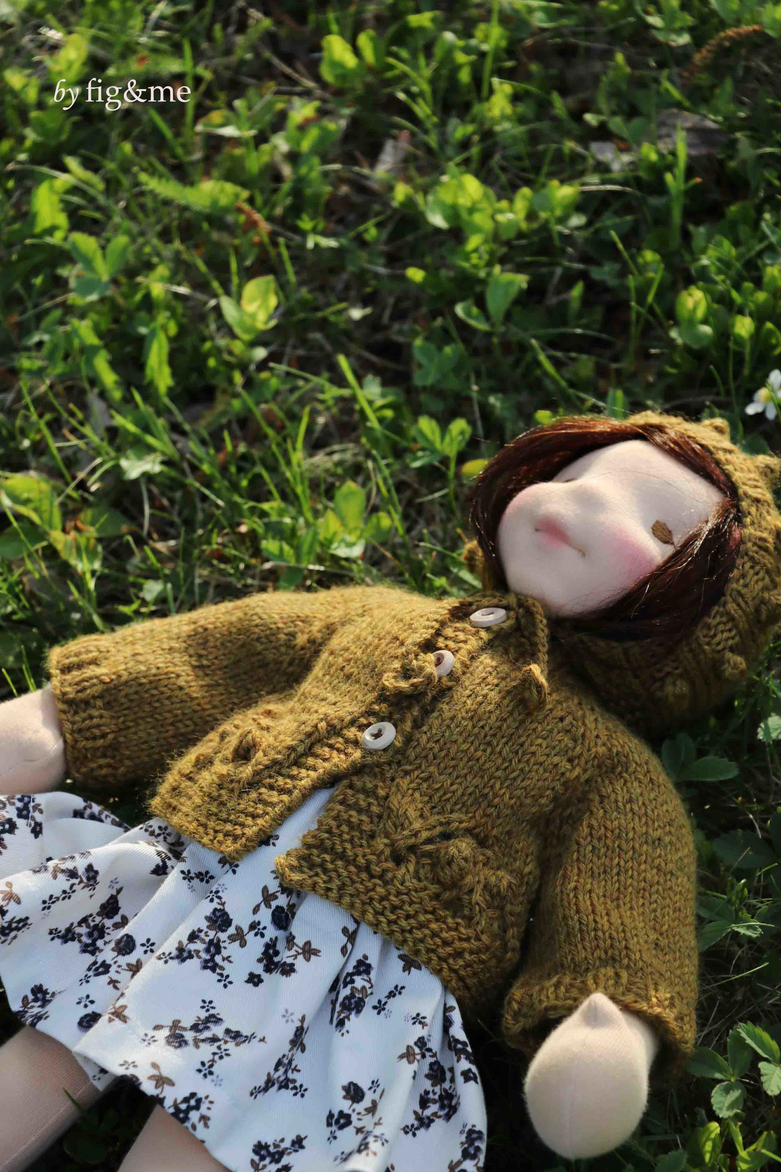 Maggie admiring the chickadees in our garden, art doll by fig and me.