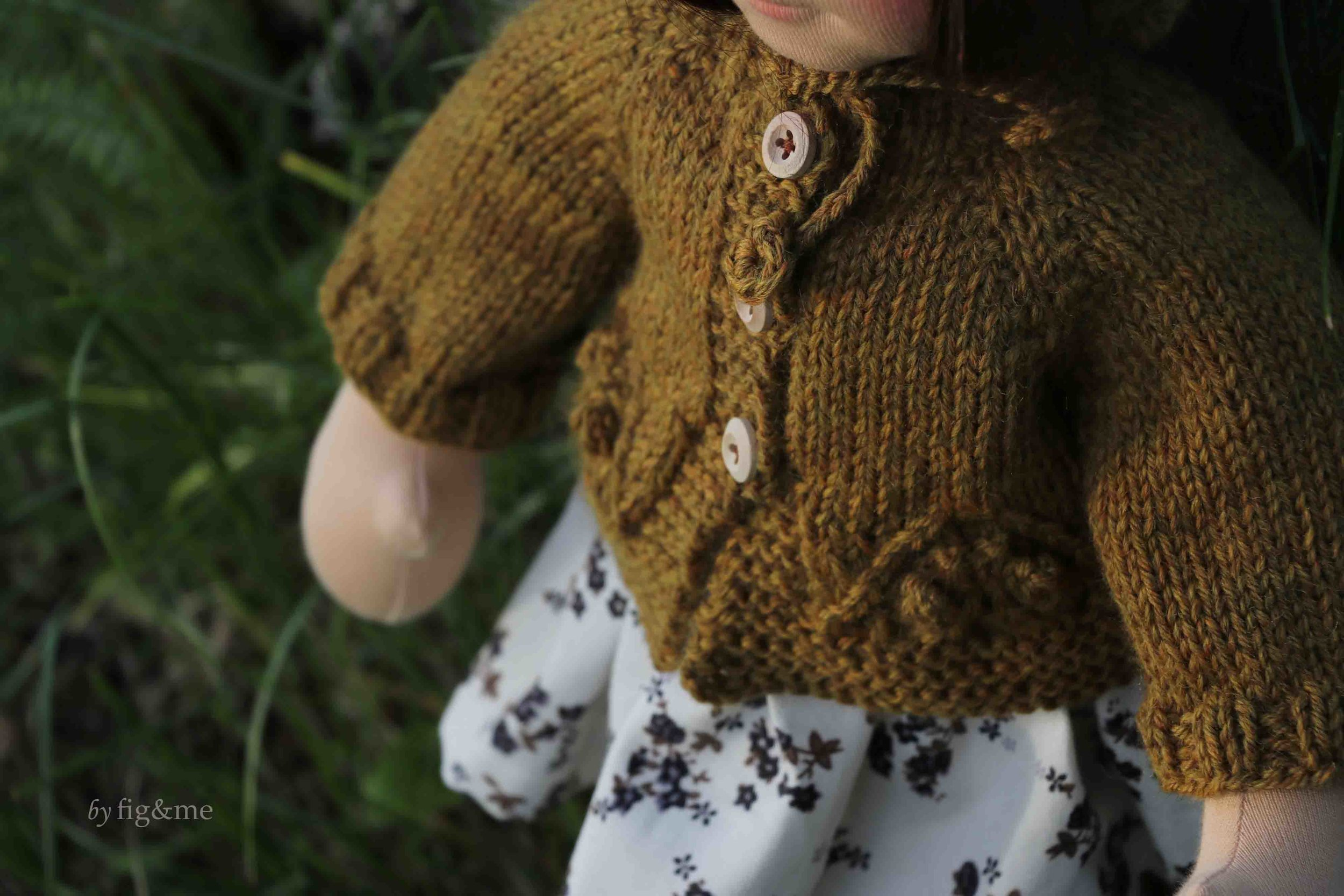 Doll cardigan with fancy design on hem, by fig and me