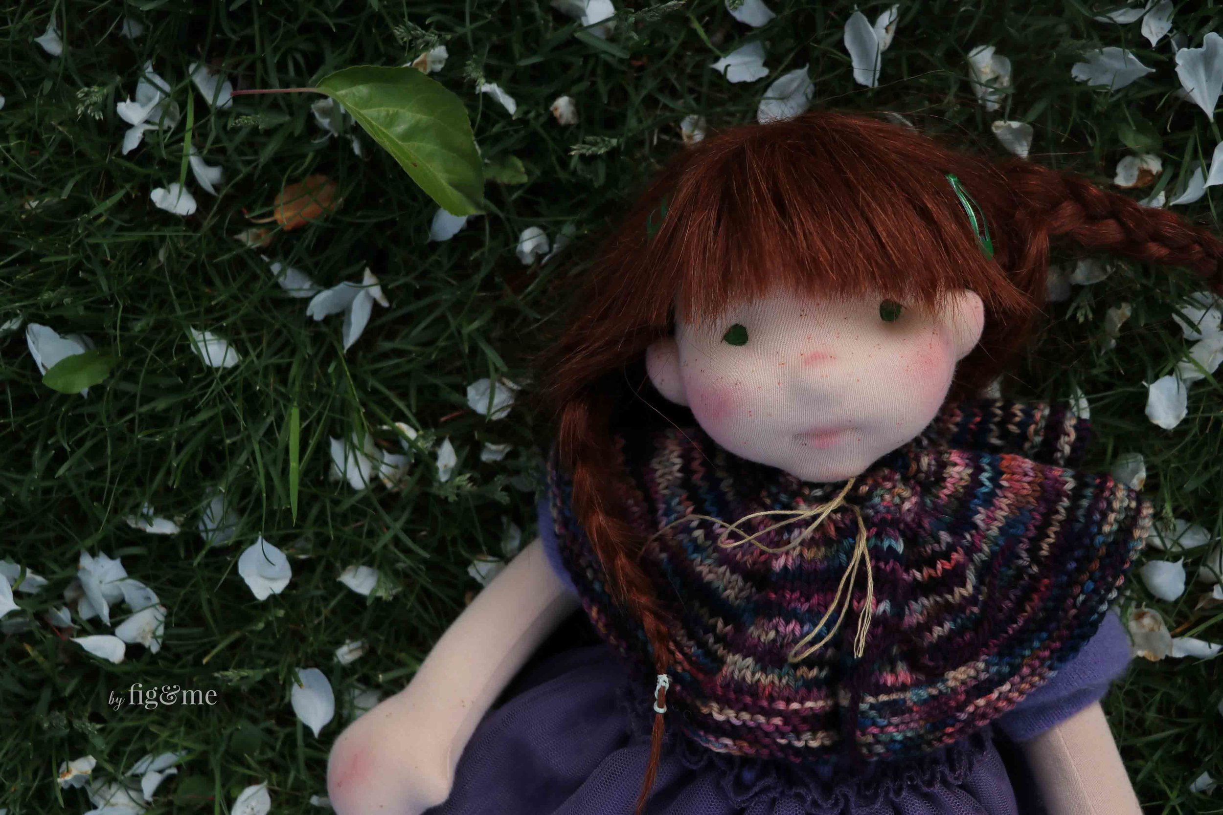 """Bernadette is a 17"""" custom figlette doll by fig and me."""