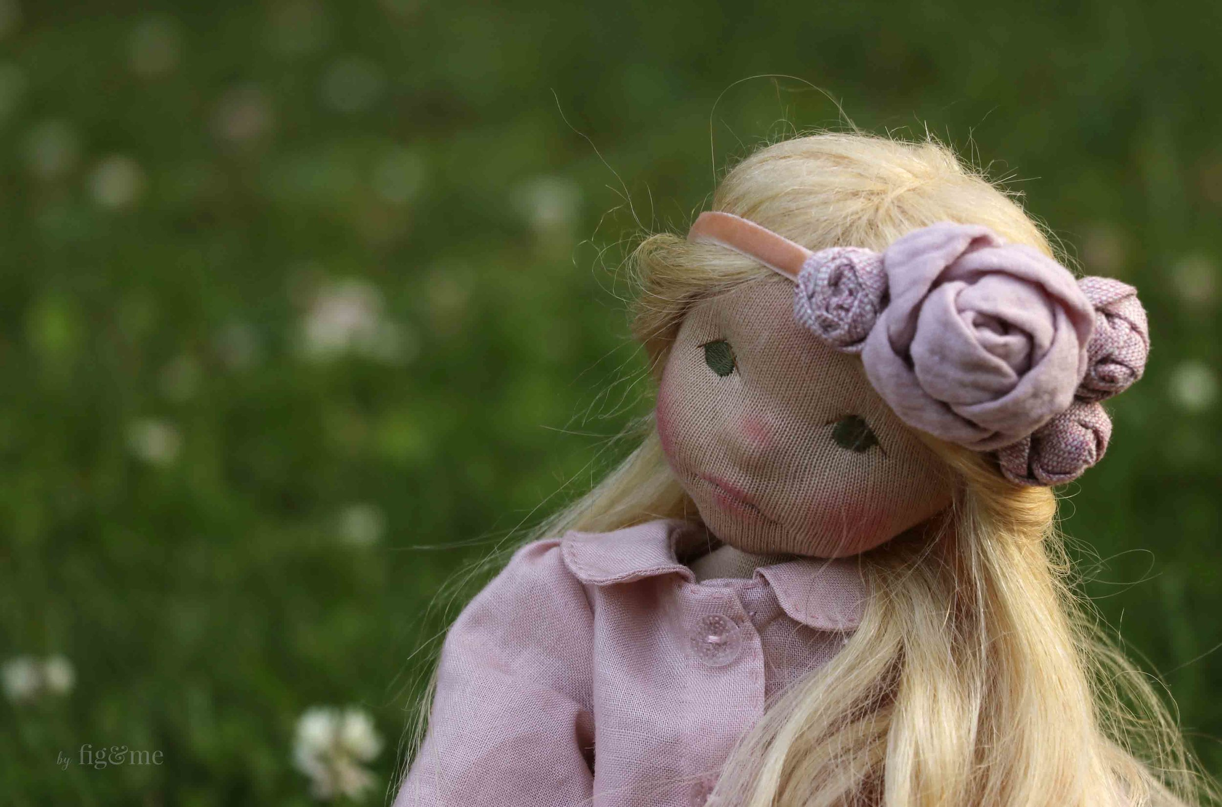 Octavia Rose, pondering. Natural fiber art doll by fig and me.