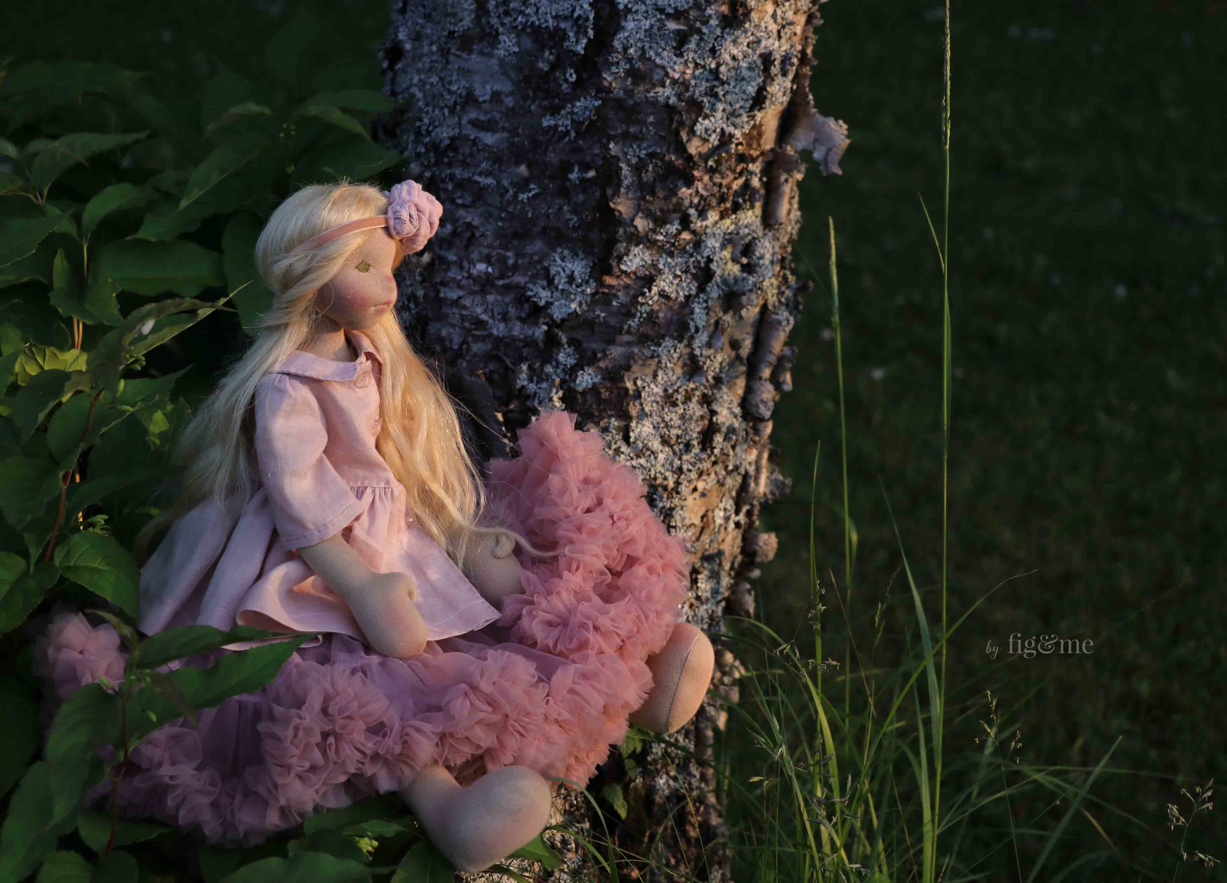 Octavia Rose at sunset. Art doll by fig and me.