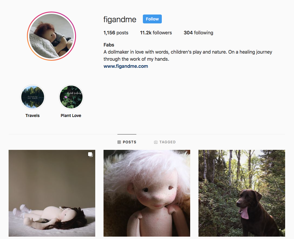 I use Instagram as a daily journal so to speak. I share current moods, thoughts, ideas, obsessions and my greatest passion aside doll making: nature.
