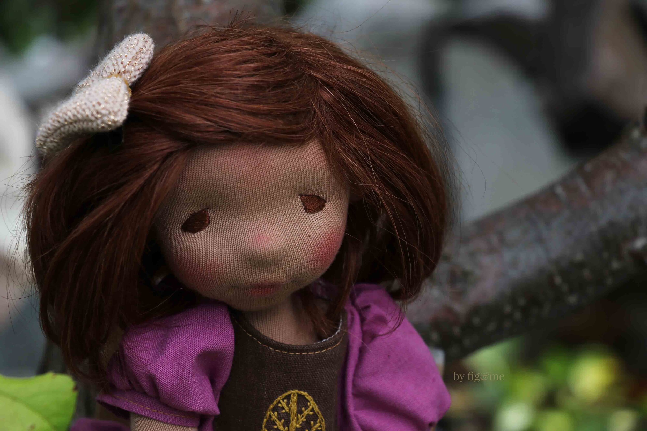 Kiva, a custom natural fiber art doll by Fig and Me