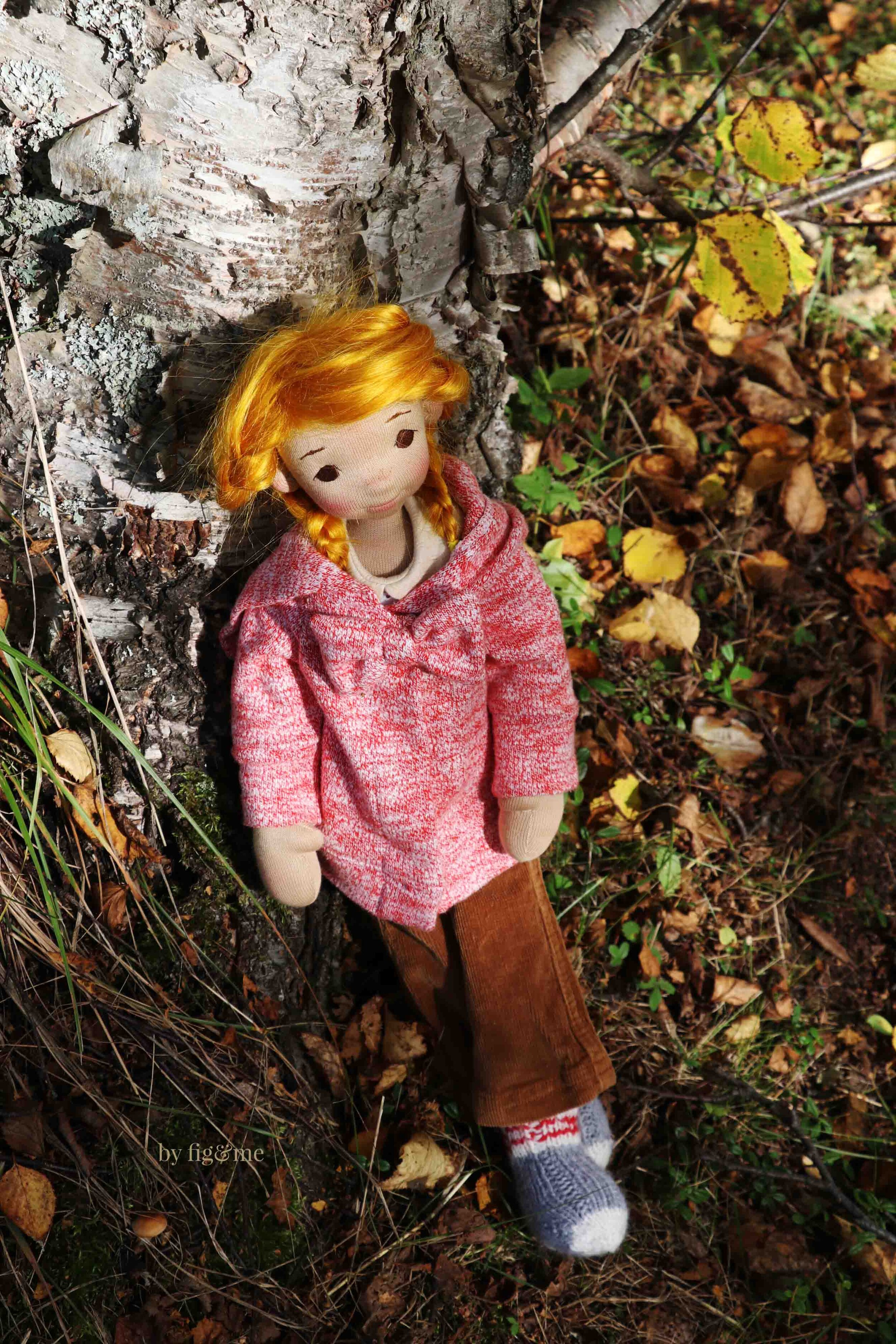 Winona outside, art doll by fig and me
