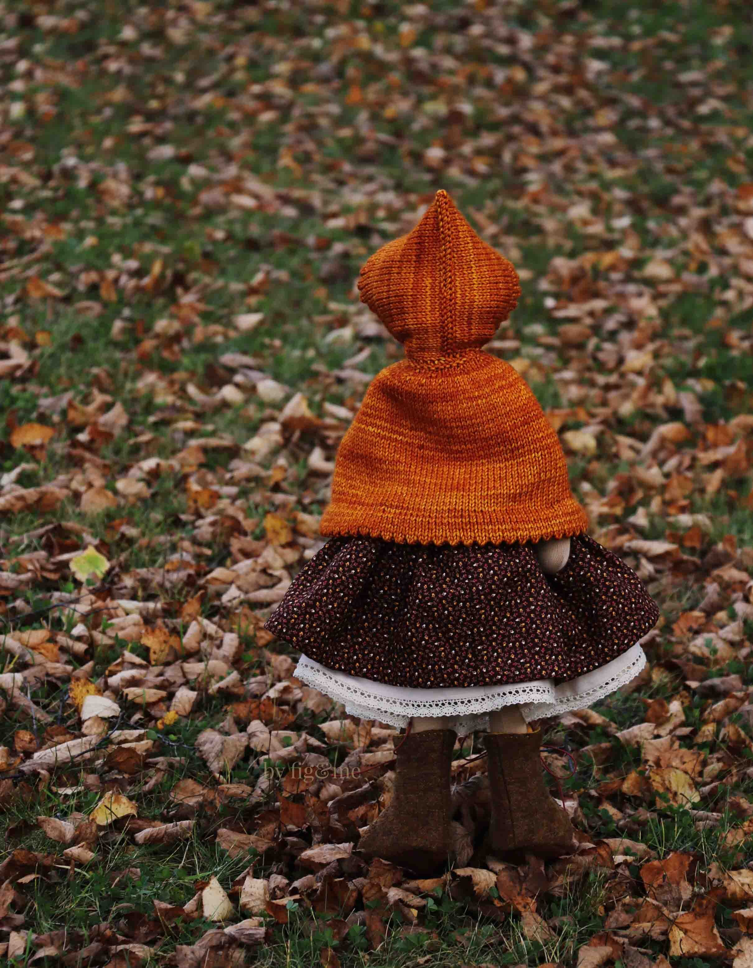 Winona rustling leaves as she takes a walk, art doll by fig and me.