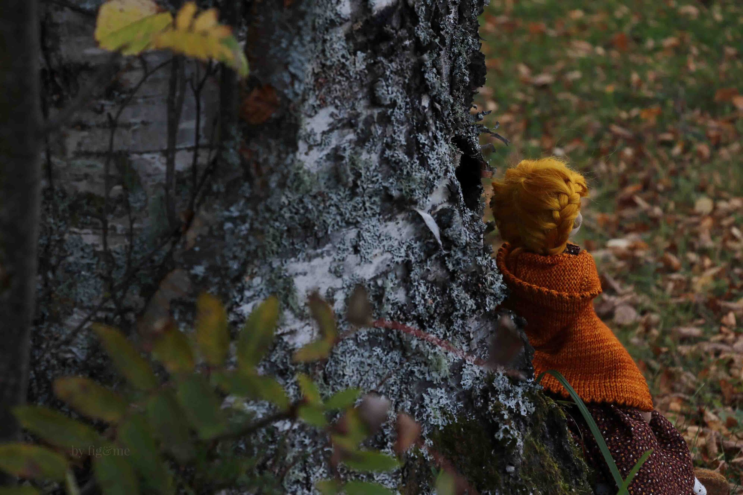Winona by the birch tree, by fig and me.