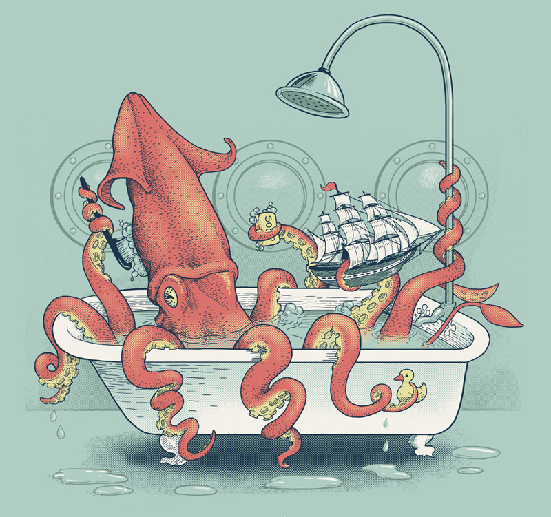 Kraken Bath Time - Available as a  5 color screen print , and was also featured as a t-shirt on  shirt.woot.com.