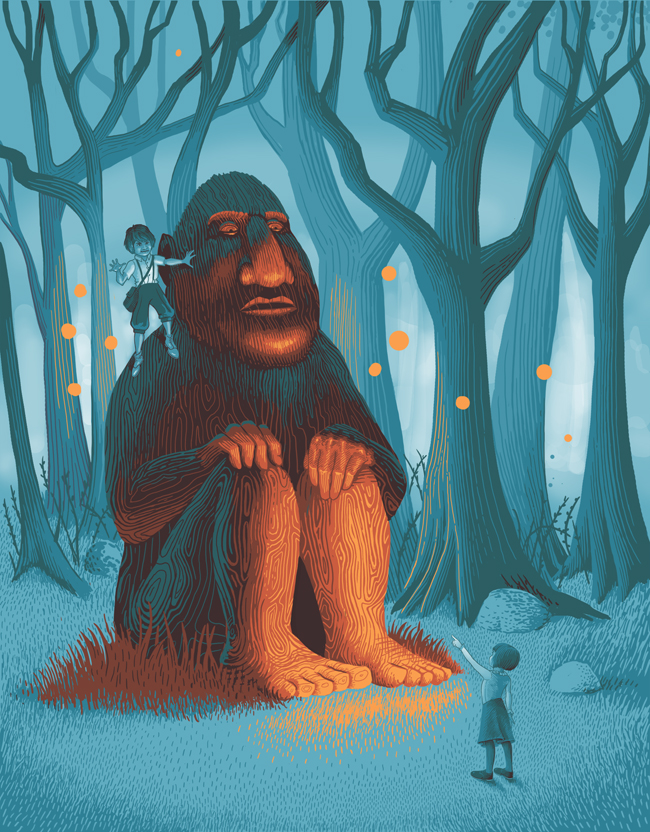 """For the children's magazine  Aquila.  This illustration is accompanying a story titled """"The Man in the Woods"""", in an upcoming issue about giants."""