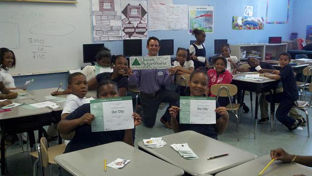 Raging Bull Steve Cosentino teaches students at Banneker Elementary