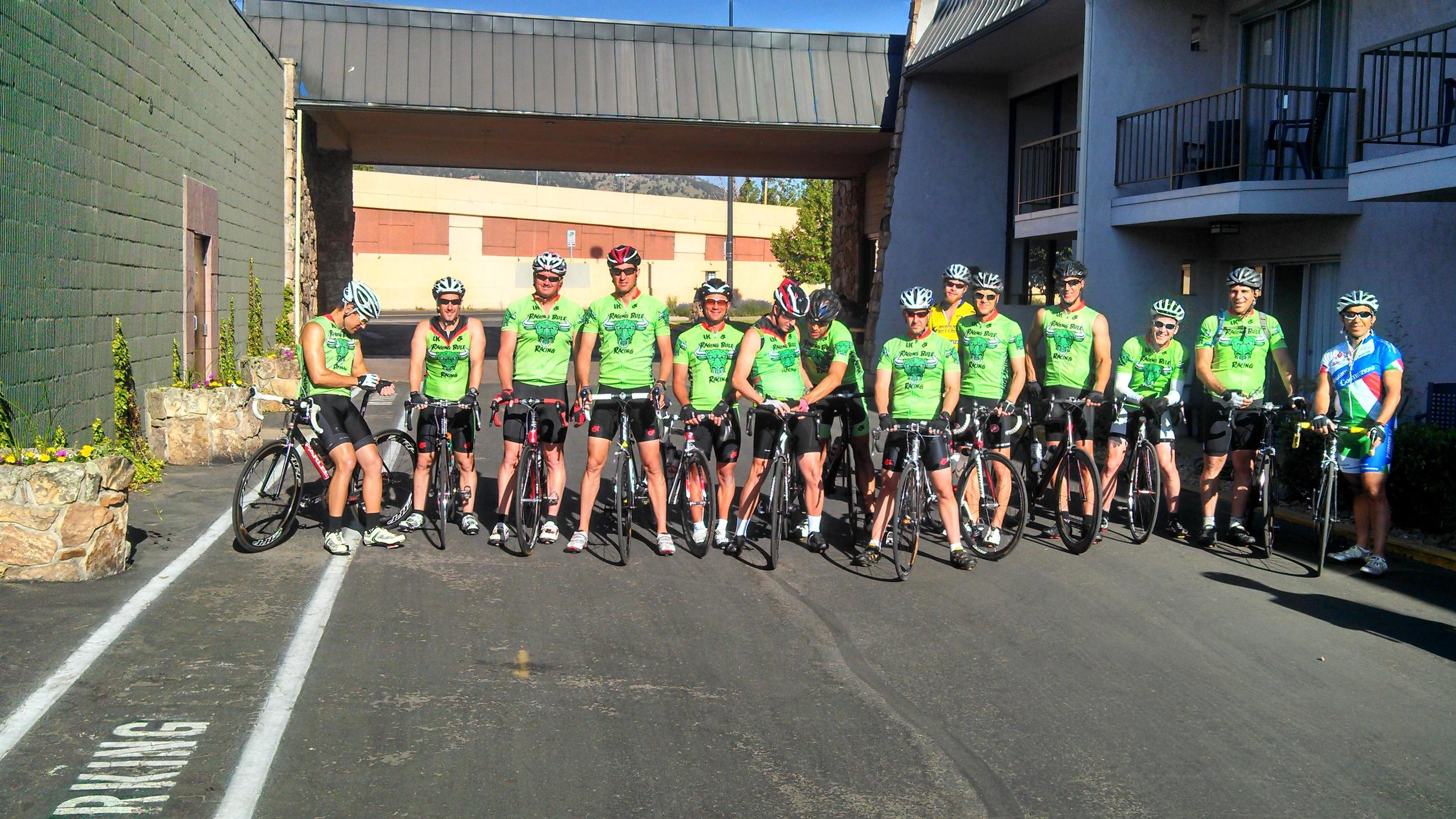 Doug Campbell (pictured 5th from the right) gets ready to lead the group up Left Hand Canyon in Boulder.