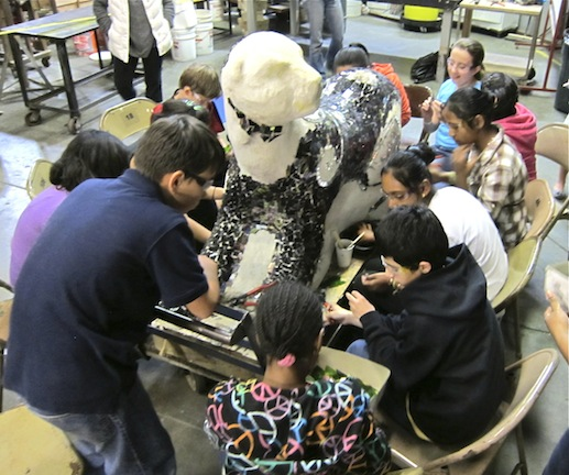 Edna Brewer students working away on the Panther in 2012