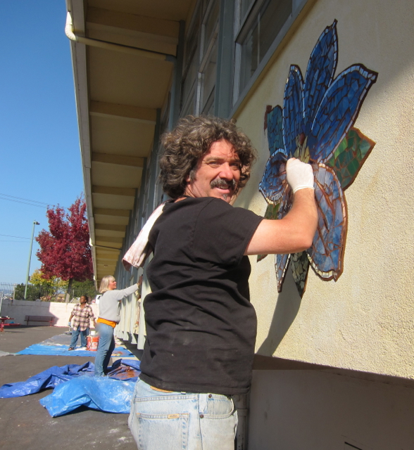 Andrew Johnstone, super talented muralist, came to get his hands in the mud. yay!