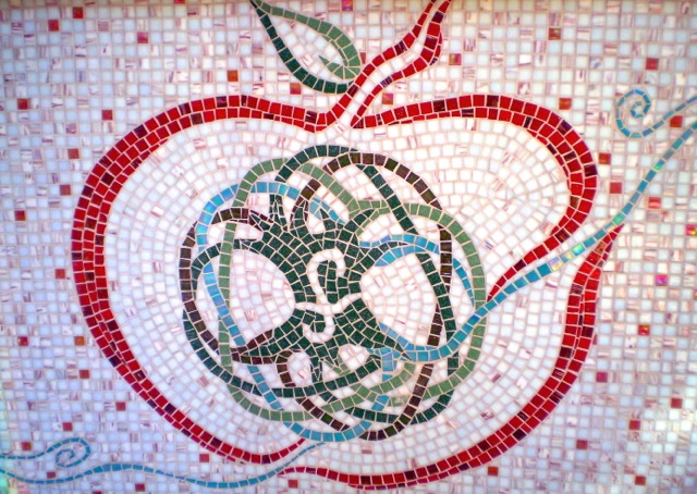 Frapez Smoothie Spa logo, glass mosaic counter, 26'w x 3.25'h