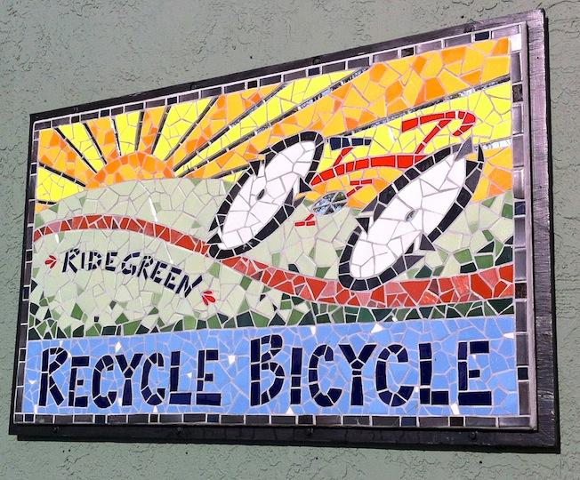 Recycle Bicycle Shop logo, ceramic tile, 5'w x 3'h