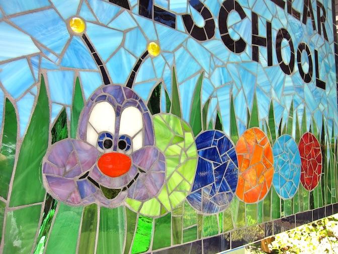 Detail: Fuzzy Caterpillar Preschool sign - Client designed, 3'w x 3'h