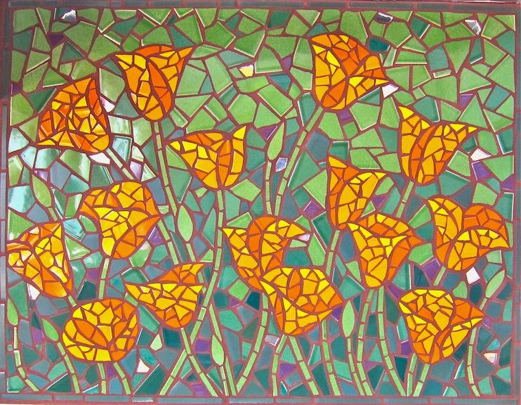 Poppies on York St - Tile mosaic backsplash