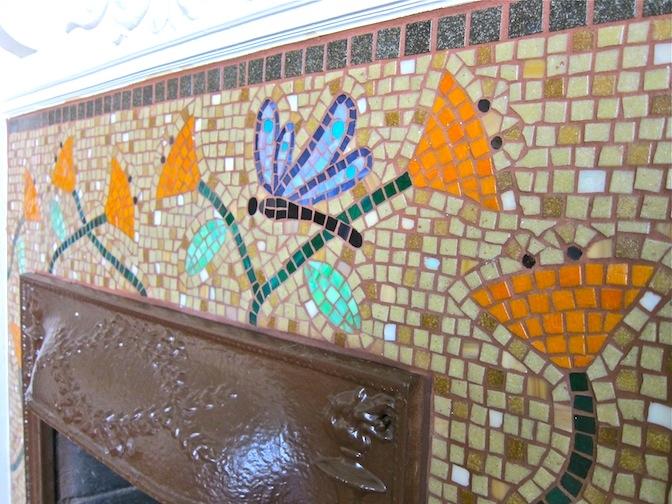 Vitreous glass fireplace facade detail