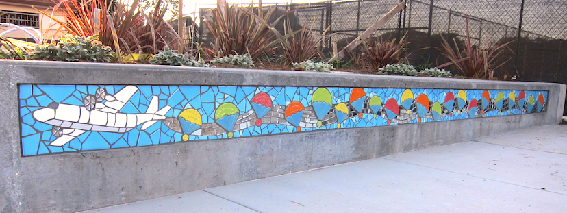 Flight Seat Walls: Honors over 20 mid-level donors to Larsen Park renovation with custom tiles