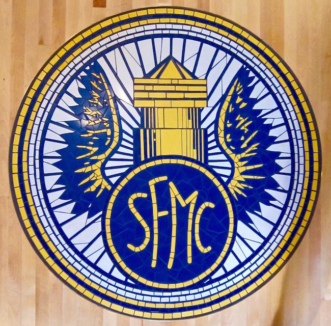 San Francisco Motorcycle Club logo floor inset, ceramic tile, 4' diameter