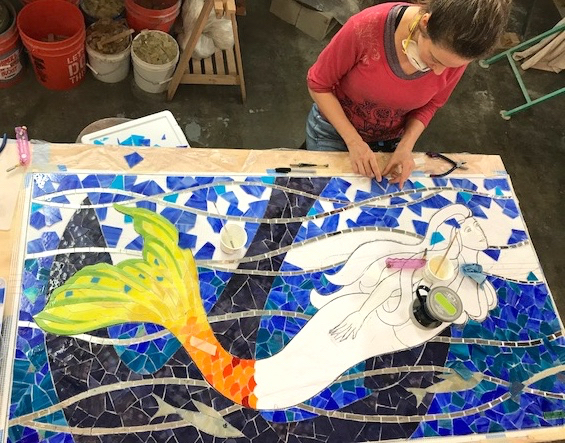 Finishing the water. The mermaid body was cut out of the background and shipped to Norfolk!