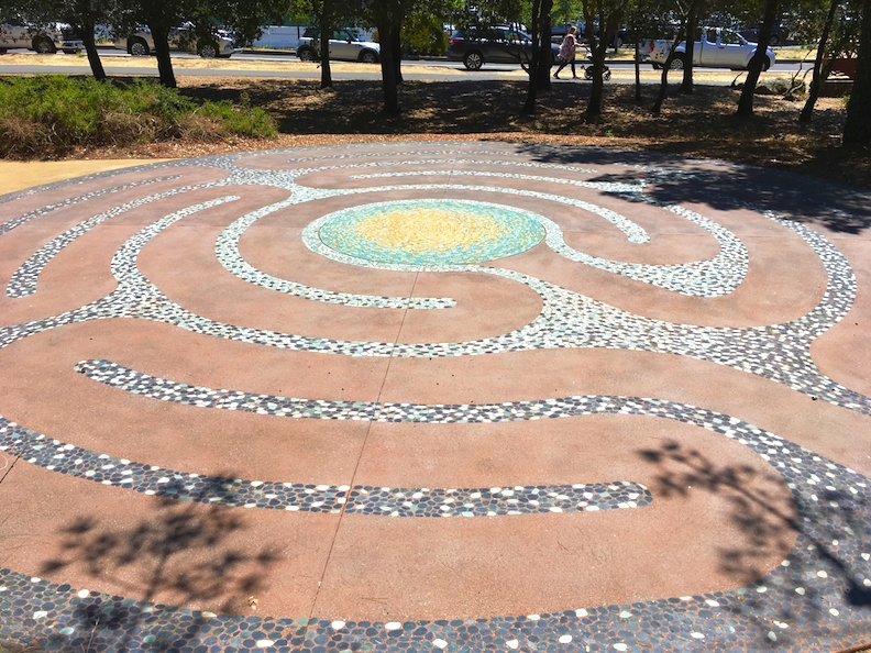 Stone and porcelain LithoMosaic Labyrinth at Hal Brown Park, Larkspur, CA