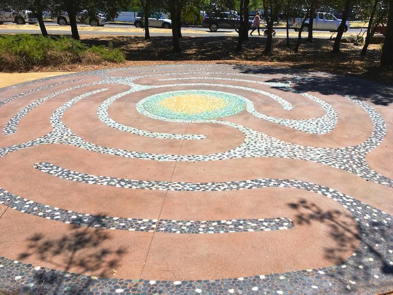 Stone and porcelain LithoMosaic Labyrinth at Hal Brown Park, Larkspur, CA