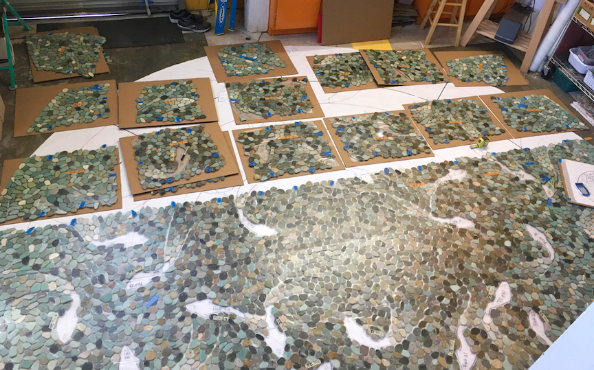 Now sectioning, coding and packing the mosaic. More than 60 sections