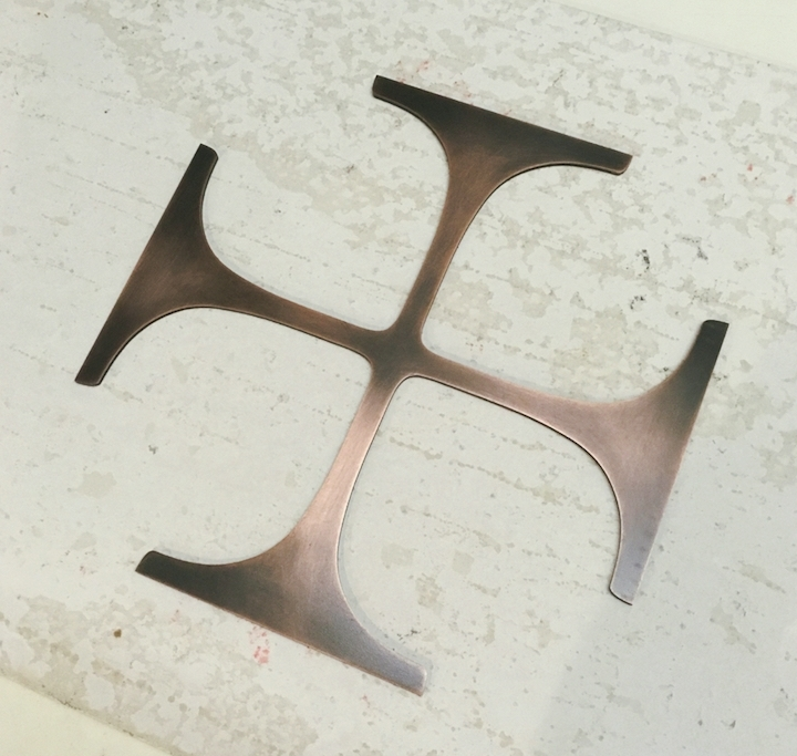 """12"""" Copper cross, made by Chambers Art & Design"""