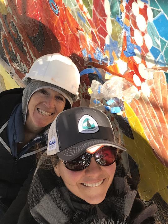 Carol and Sophia on the big Skechers Ocean install.
