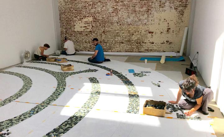 On the labyrinth this day - Carol, Mark Tabler, Noboru Garcia and Adina Kaplan.