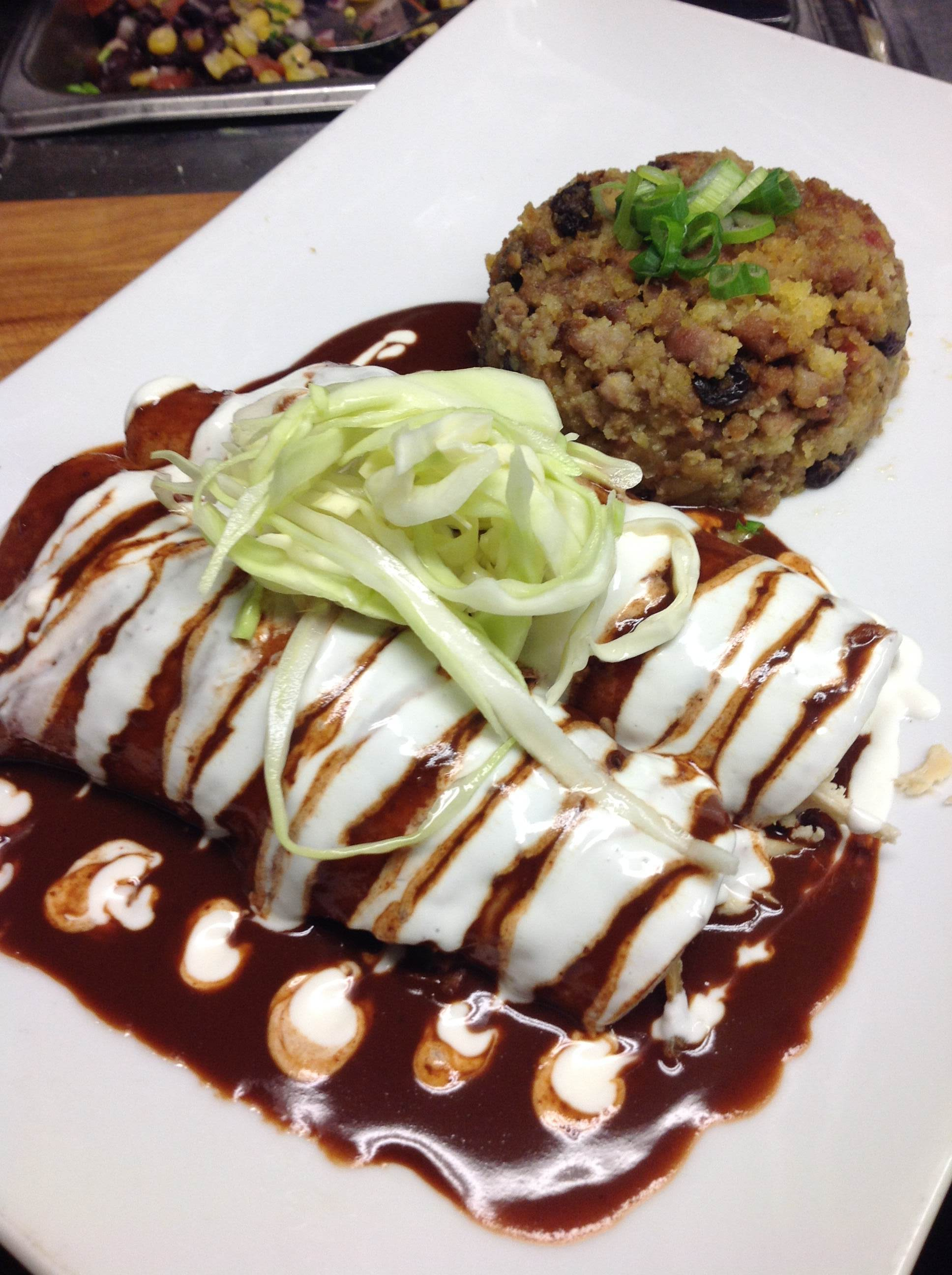 Roasted Turkey Enchiladas in a Cranberry Mole