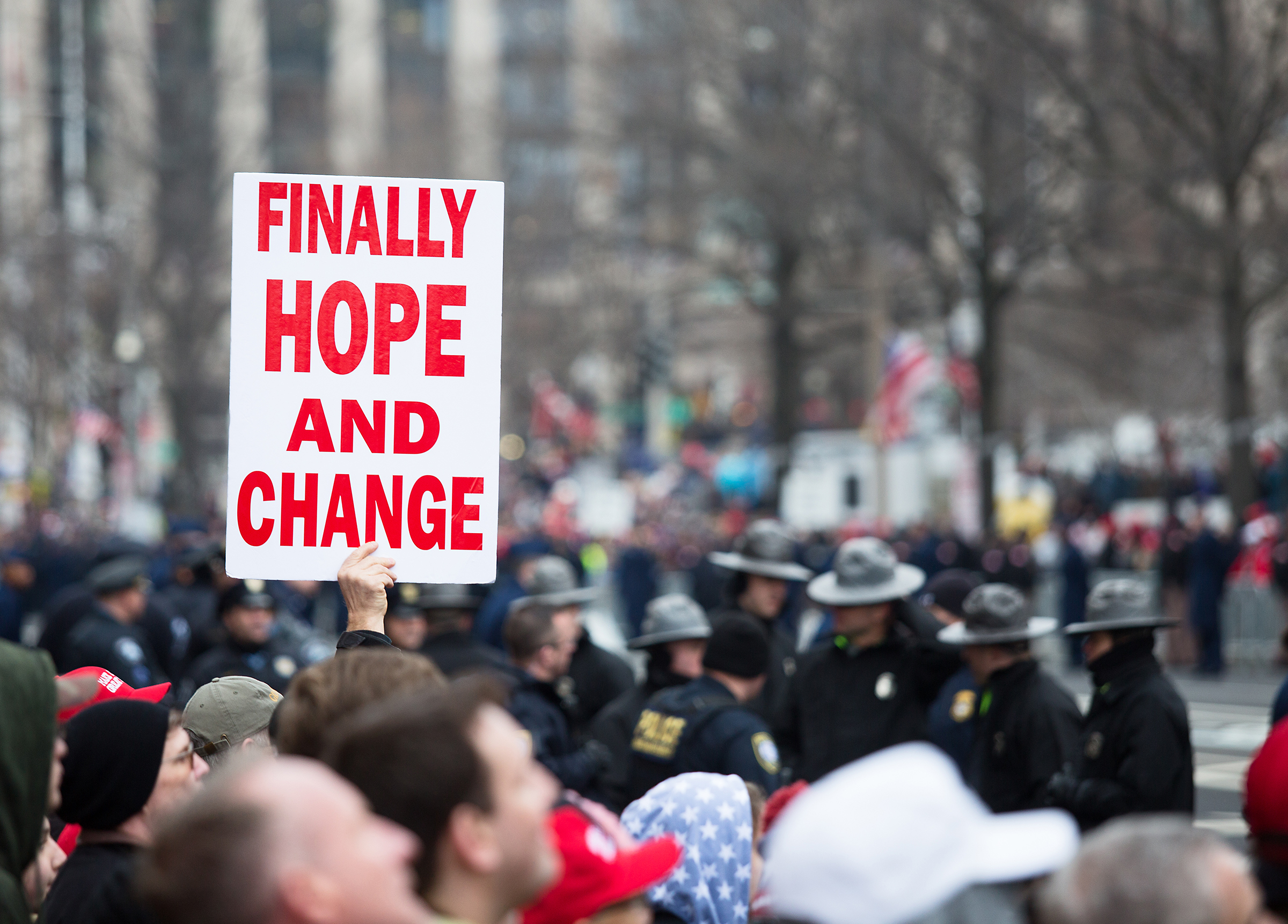 A sign along Pennsylvania Avenue during the 2017 Presidential Inauguration in Washington D.C.
