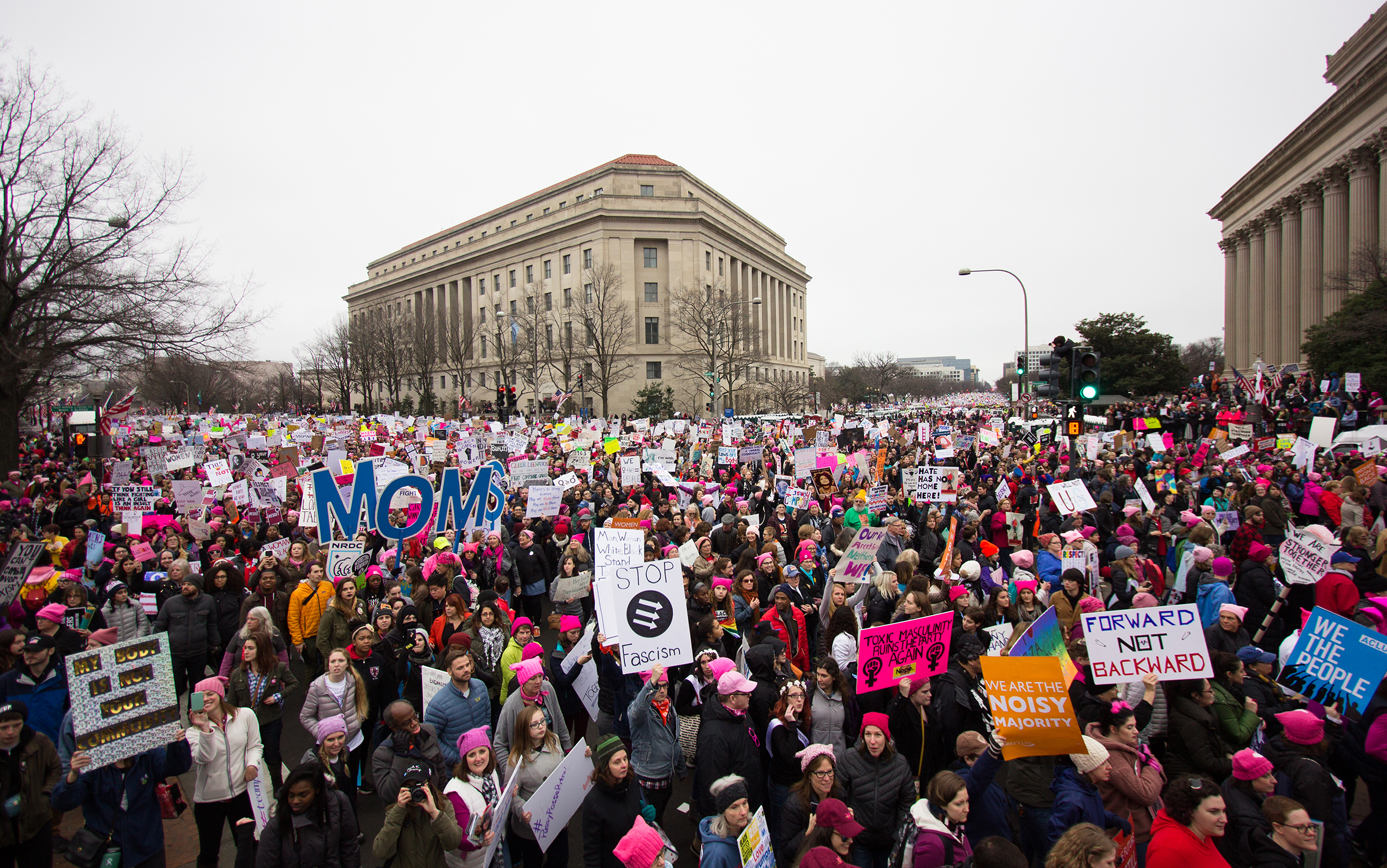 The 2017 Women's March at the intersection of Pennsylvania Avenue and 7th Street in Washington D.C.