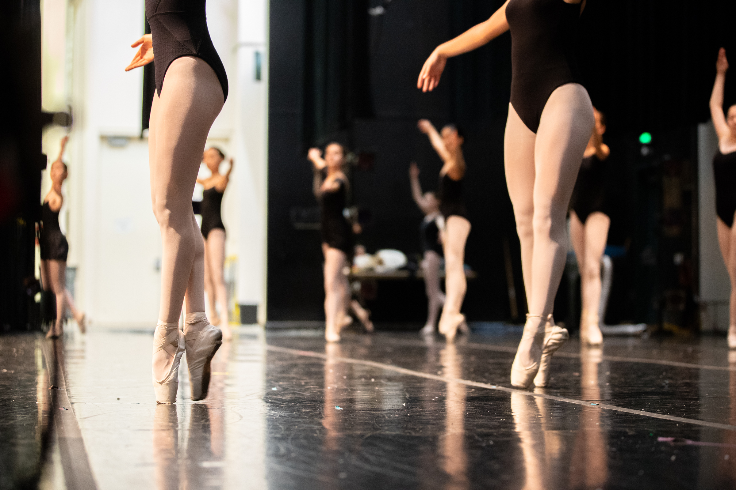 """Dancers rehearse the Waltz of the Snowflakes before Western Ballet's production of """"The Nutcracker"""" at the Mountain View Center for the Performing Arts on Dec. 2, 2018."""