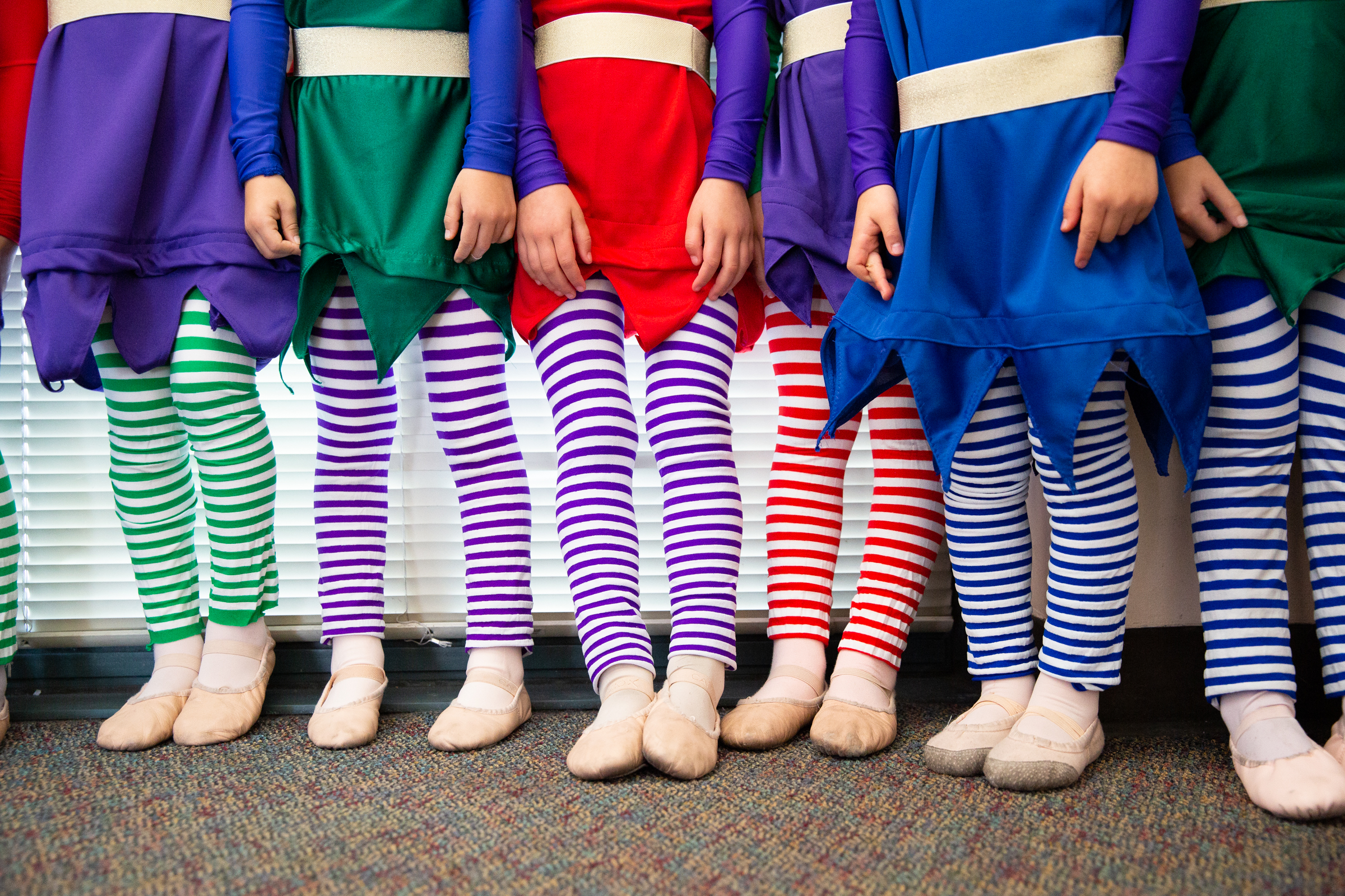 """Little elves, ages 5 to 12, line up to go onstage during Western Ballet's production of """"The Nutcracker"""" at the Mountain View Center for the Performing Arts on Dec. 2, 2018."""