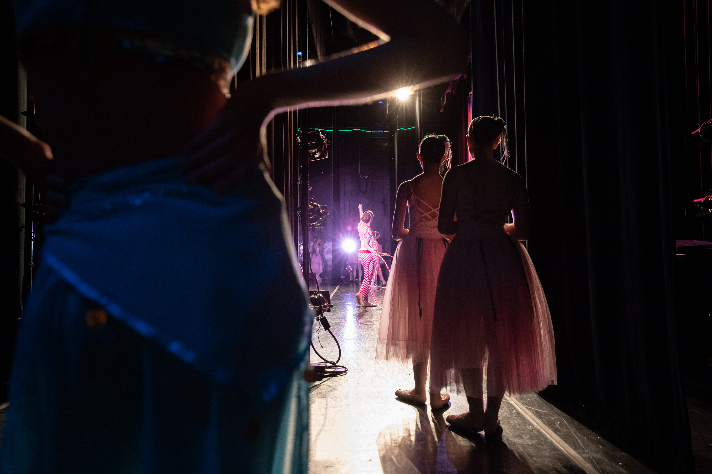 """Performers offstage watch the Candy Canes dance during Western Ballet's production of """"The Nutcracker"""" at the Mountain View Center for the Performing Arts on Dec. 2, 2018."""
