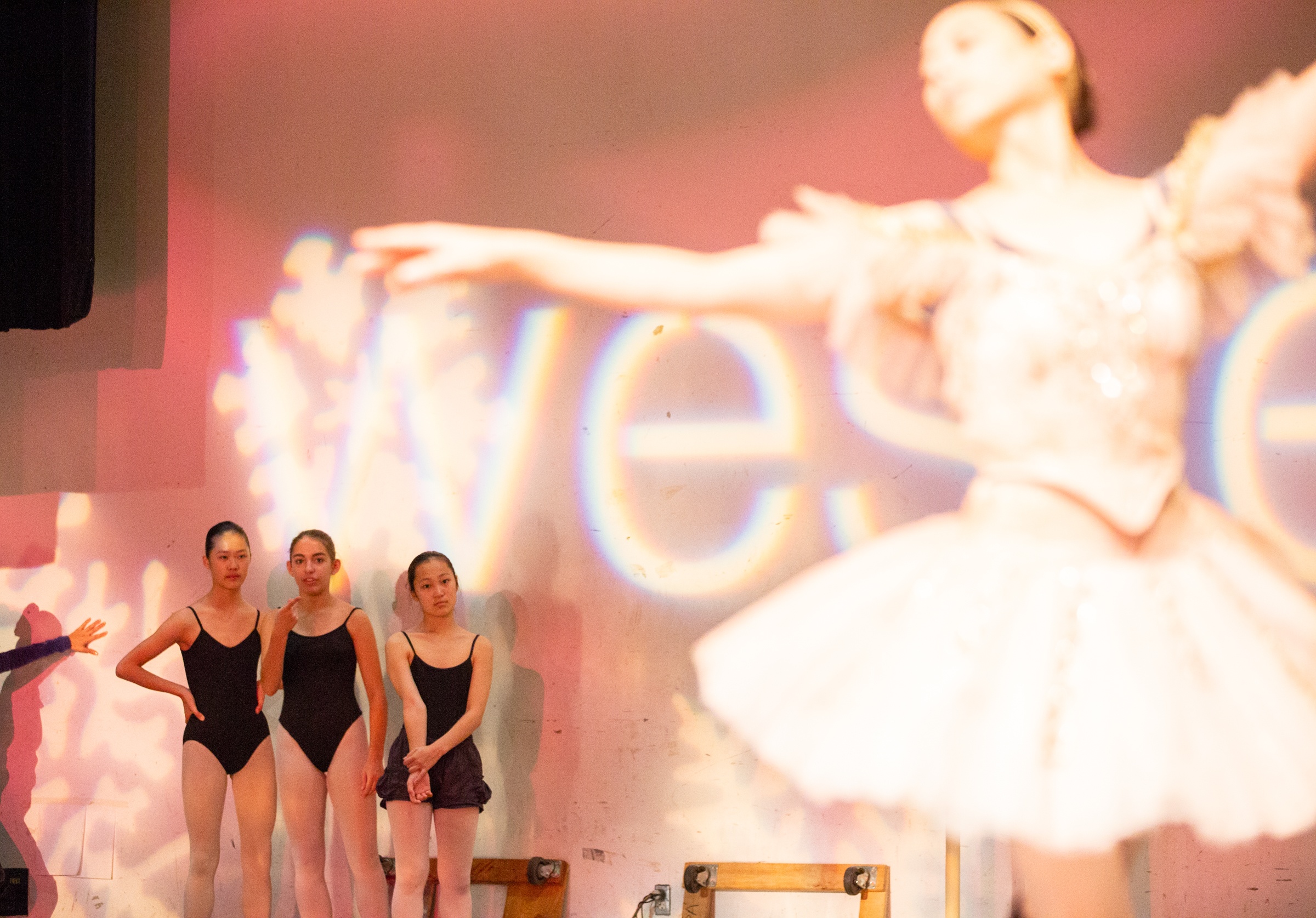 """Dancers watch Alison Share, who plays the Sugar Plum Fairy, rehearse before Western Ballet's production of """"The Nutcracker"""" at the Mountain View Center for the Performing Arts on Dec. 2. Share is a professional dancer."""