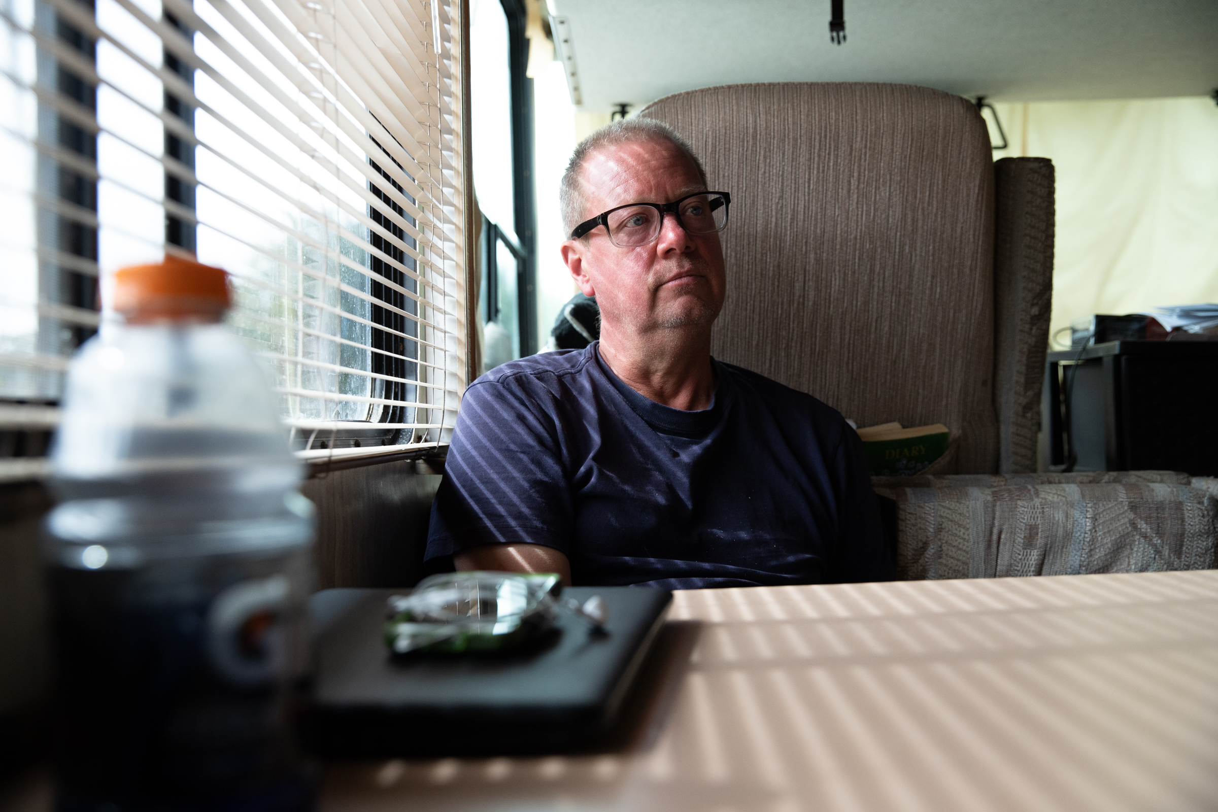 Scott Rodvold in his RV in Mountain View, California, on March 8.