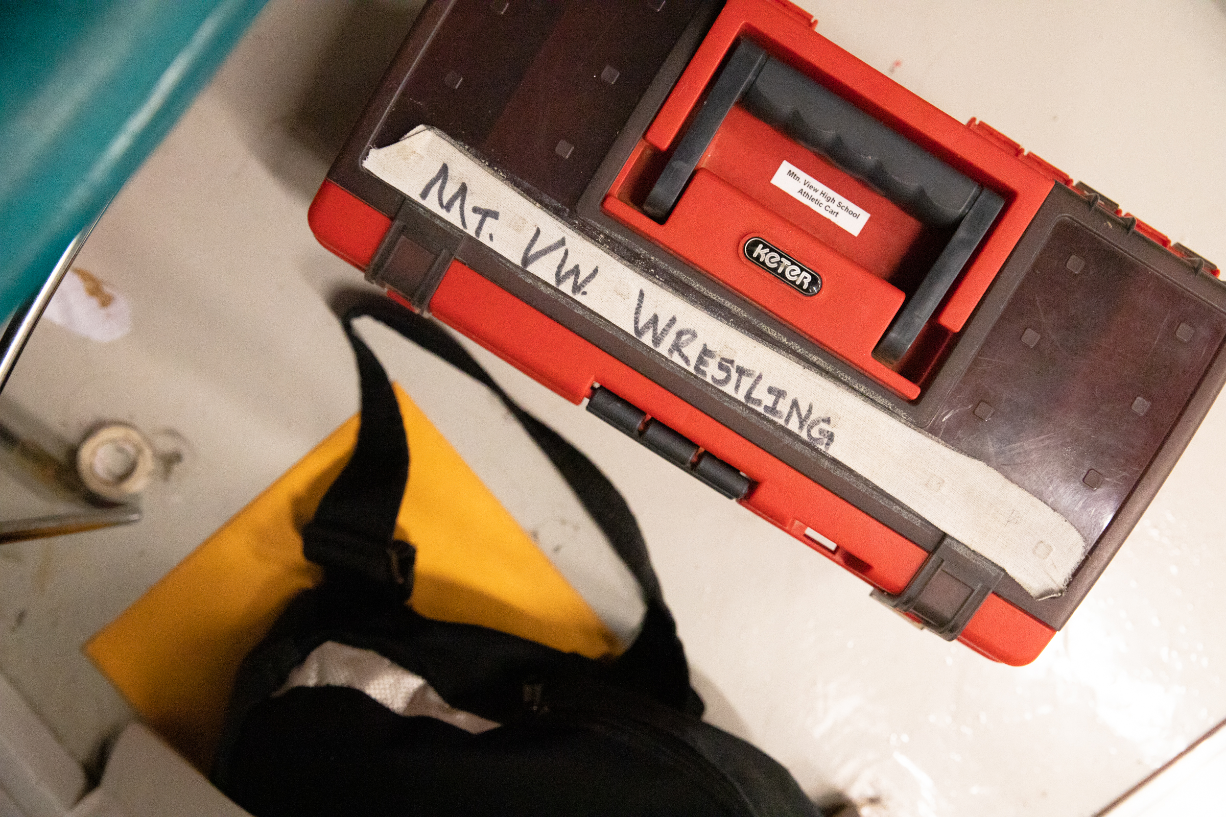 The Mountain View High School wrestling team's medical supplies box at a practice at Los Altos High School in Los Altos, California, on Jan. 30.