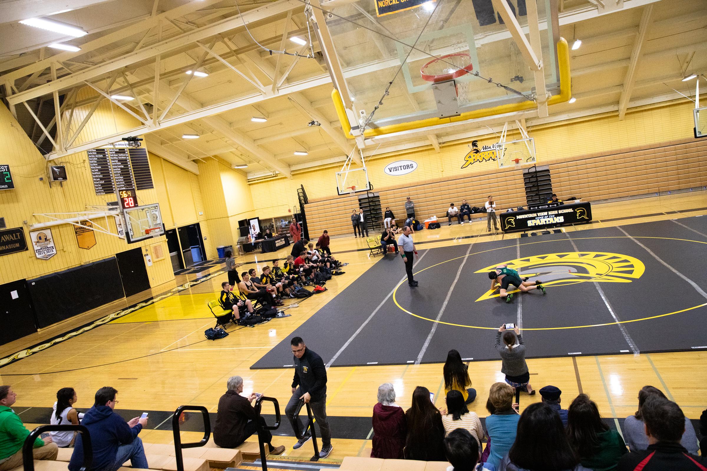 Paris Harrell wrestles Ava Aufderheide from Homestead High School during a meet at Mountain View High School in Mountain View, California, on Jan. 31.