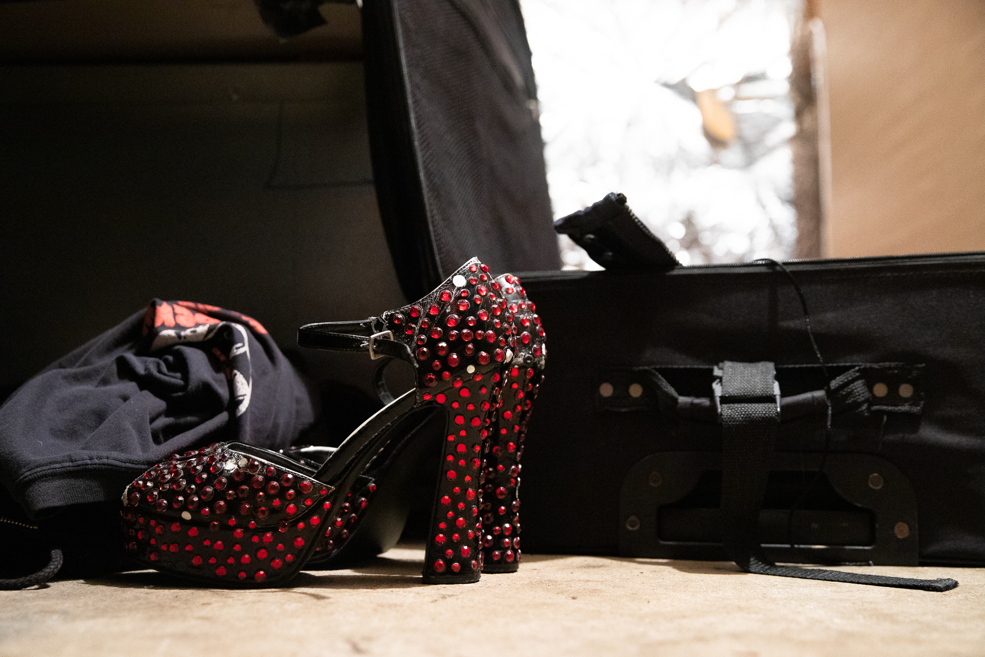 Michael Delfino's high heels for the role of Dr. Frank-N-Furter.