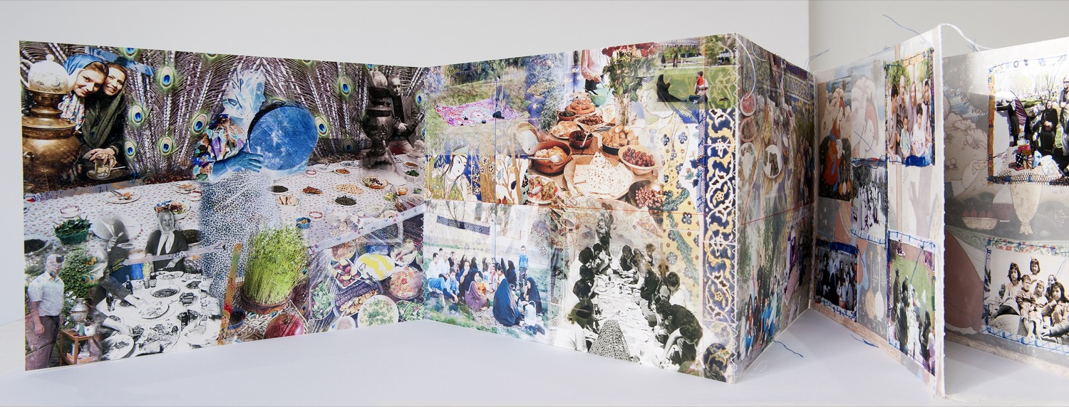 Statement:  Title: Picnic in Iran 2017 Description: آلبوم عکس هنری دست ساخته بتول شوقی در مضمون پیک نیک در ایران  Hand made concertina artist's book. Photographs of Iranians picnicking, stitched onto pictures of ceramic tiles depicting scenes of picnic during the Safavid periods. The book has two hard cloth covers with photographs stitched onto them.  Size: 22 x 31 cm. 22 x 450 cm, when opened  The concertina book has 15 pages and two hard covers. Each page is 21 x 29.7 cm. The book when opened is approximately 450 cm long.  The picnic photographs are stitched and sewn onto the pages with strips of materials around them. These represent the lranians' love and use of textile materials while picnicking and close to nature. The background of the pages are photographs which I took of ceramic tiles in Chehel Sotoon Palace in Isfahan.