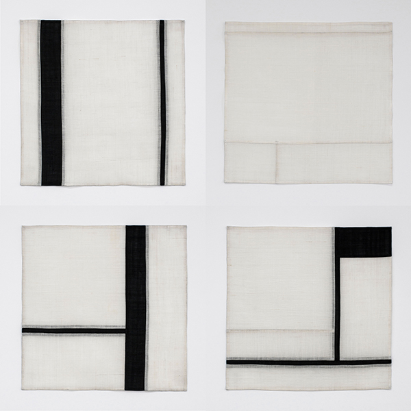01.Eun Hye Kang_Abstract Code No.17,18,19,20_Jo-gak-bo, Korean Traditional Fabric_32x32(cm)each_2017.jpg