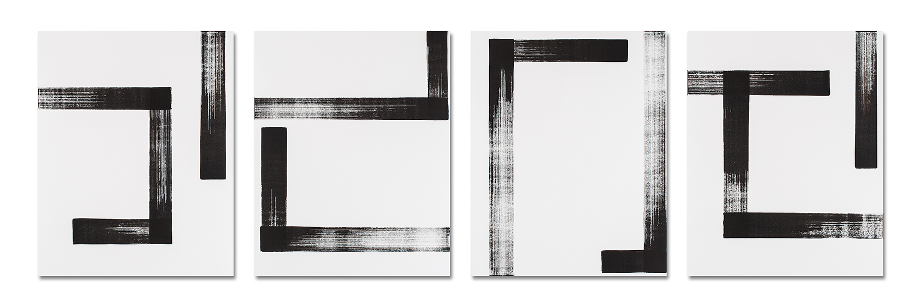 Study of Line No.11, 08, 09, 12 (left to right)    Sumi-ink drawing on Rice Paper_120x150(cm) each_2016