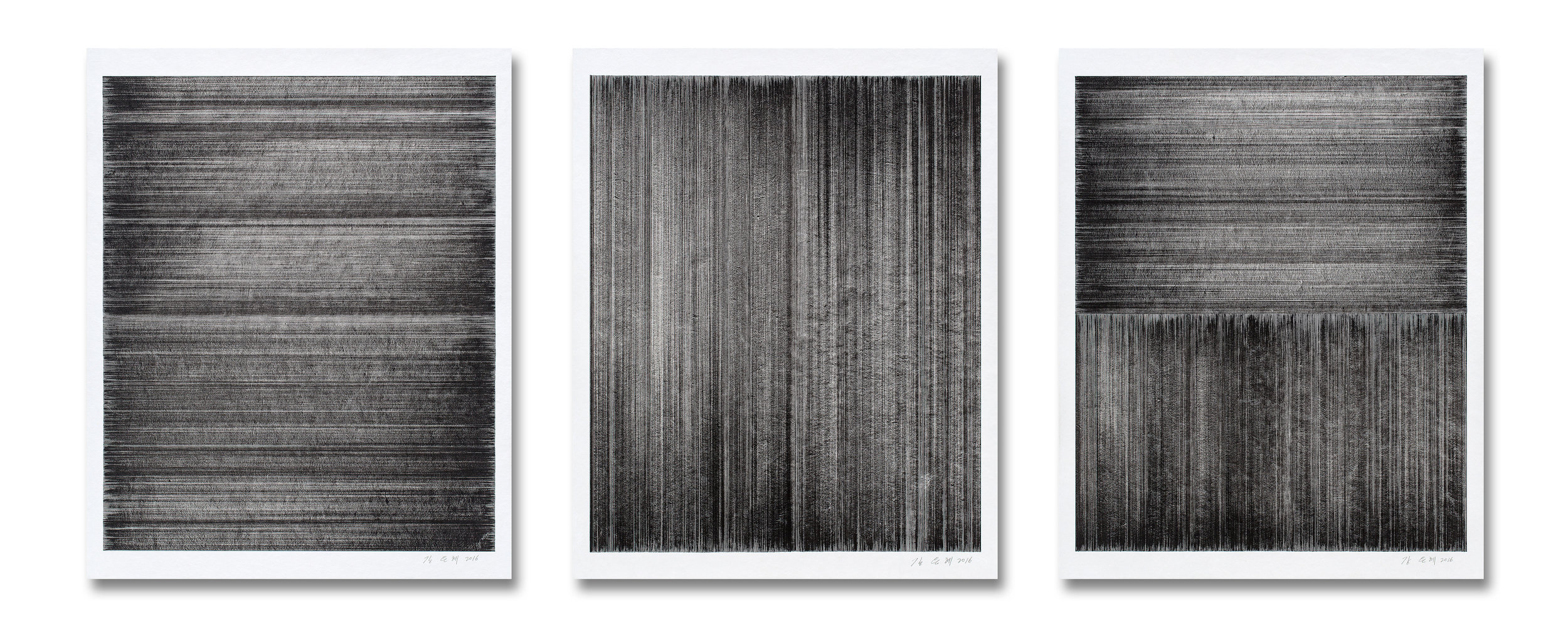 Meditation No.08, 09, 10    Sumi-ink Drawing on Rice paper  70x90 (cm) each  2016